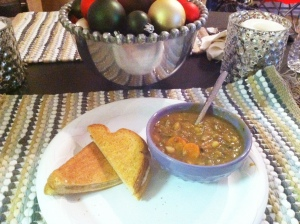 Lentil & Vegetable Soup with Grilled Cheese