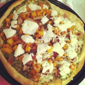 Pizza Night: Pesto Sauce, Caramelized Onions, Butternut Squash & Ricotta Cheese (Adam's side also had chicken sausage, bacon and mozzarella cheese)