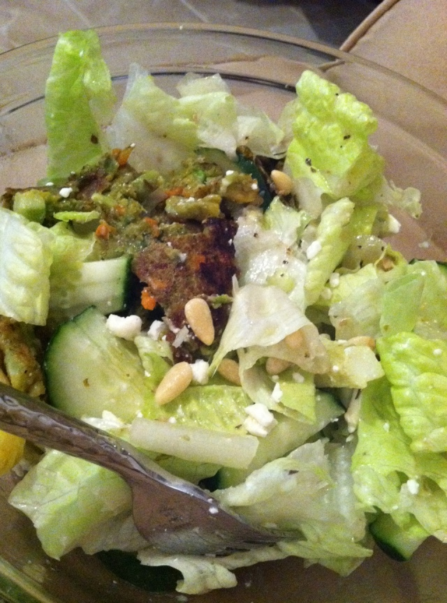 Lunch - Romaine, Artichoke Hearts, Cucumbers, Pine Nuts, Feta, Veggie Burger & Greek Dressing
