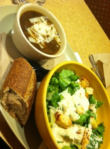 Panera: Caesar Salad & French Onion Soup with a whole wheat baguette