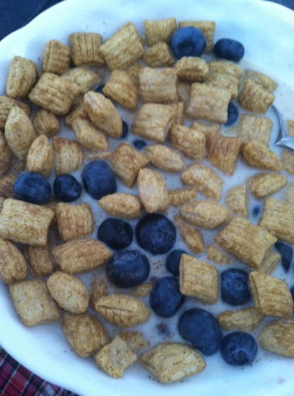 Barbaras Original cereal with blueberries & almond milk