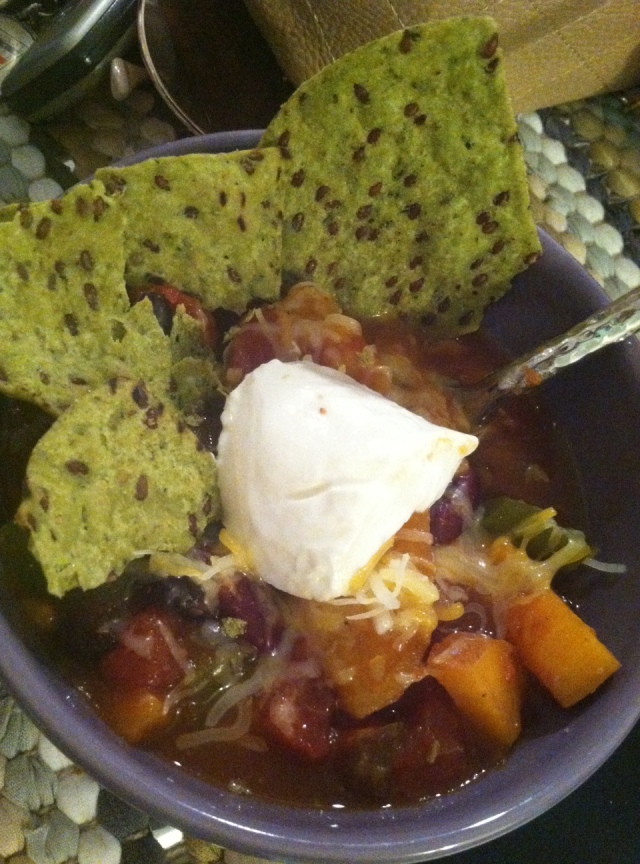 Sweet Potato Chili with more chips, mexican cheese and greek yogurt