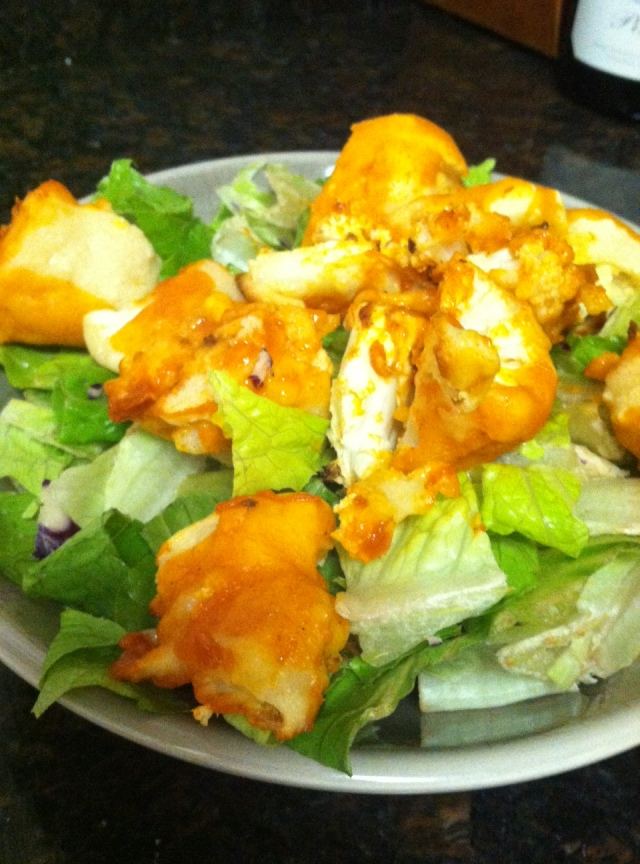 Salad with buffalo cauliflower from Peta's website.