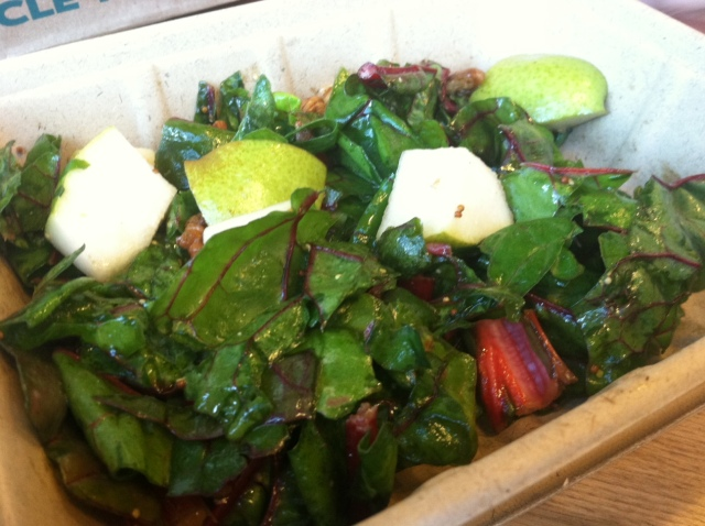 Rainbow Chard, Walnuts, & Pear Salad