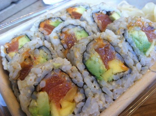 Salmon Mango and Avocado Sushi Roll