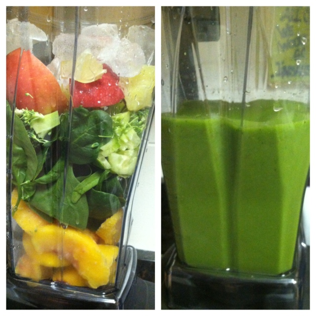 Juice to kick off Sunday morning: Frozen Peaches, spinach, cucumber, kiwi, apple, lemon, broccoli ice & water
