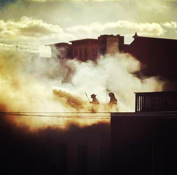 Fire across the street. Good news - Everyone is OK. Photo credit: