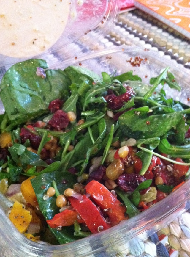 Lunch. Spinach, Wheatberries, Quinoa, Goat Cheese, Dried Cranberries, Roasted Red Peppers, Butternut Squash aka delicious