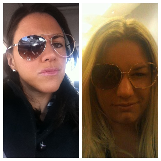 I sent my best friend the picture on the left. She sent me the one on the right back. Twins.
