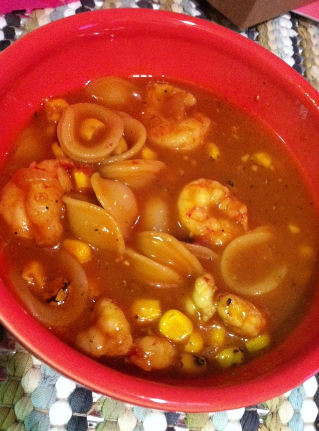 Dinner: Roasted Corn & BBQ Shrimp Soup