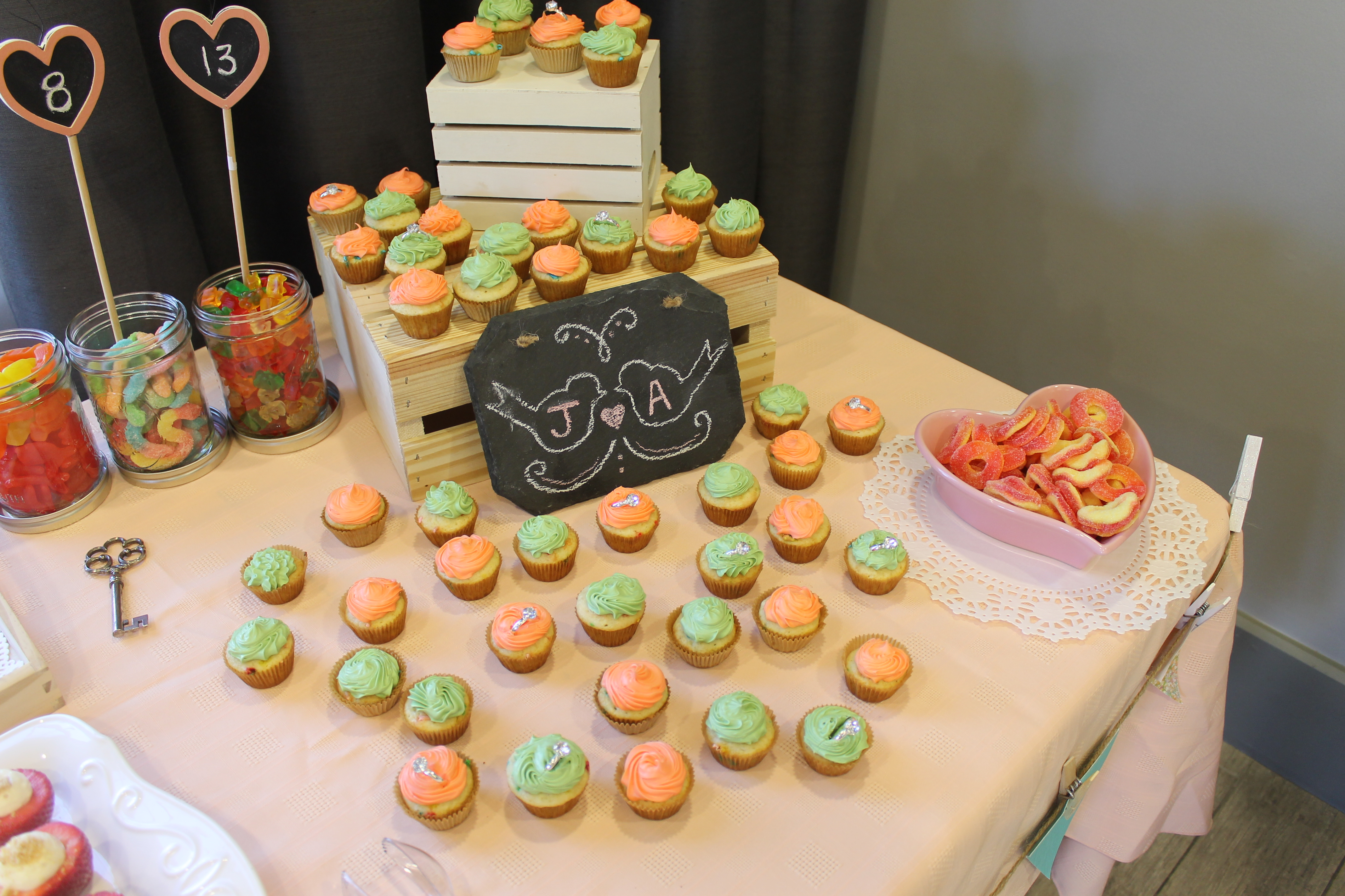 jenns wedding colors are mint coral so we used the same theme for her shower with thoughts that she could use everything for the wedding too