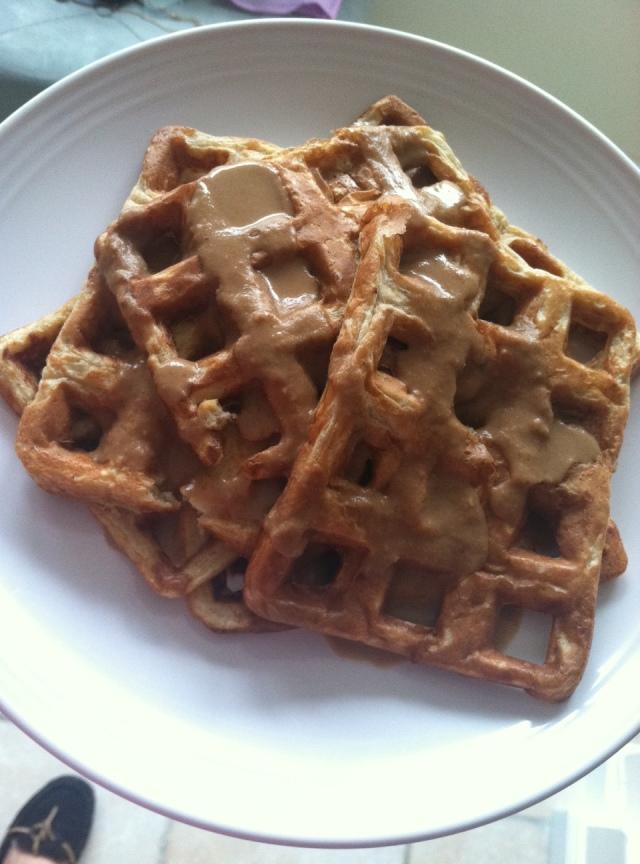 Banana Protein Waffles for breakfast