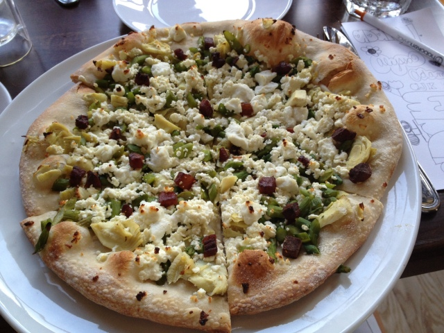 Feta, Goat Cheese, Artichokes, Asparagus & Pancetta PIZZA. Drooling.