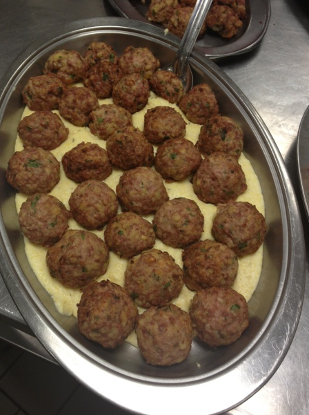 Duck Meatballs in Creamy Polenta